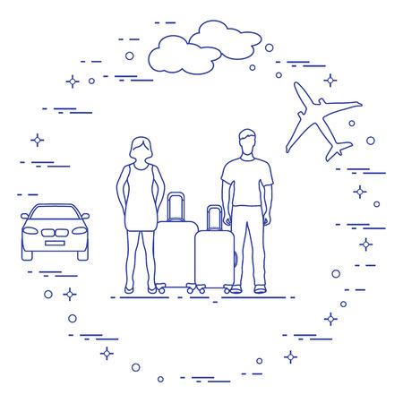 Uomo e donna con valigie, aereo, nuvola, auto. Orario estivo, vacanze. Tempo libero.