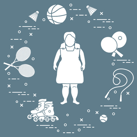 Fat girl, badminton rackets and shuttlecocks, tennis and basketball balls, rackets and balls for table tennis, jumping-rope, rollers. Sports and healthy lifestyle from childhood. Иллюстрация