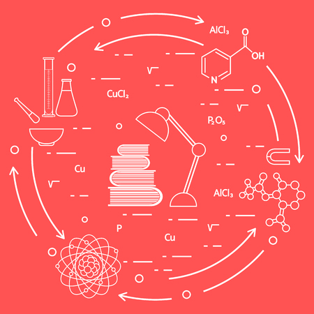 Scientific, education elements. Table lamp, books, flask, beaker, mortar, pestle, crystal lattice, molecule, magnet, atomic nucleus.