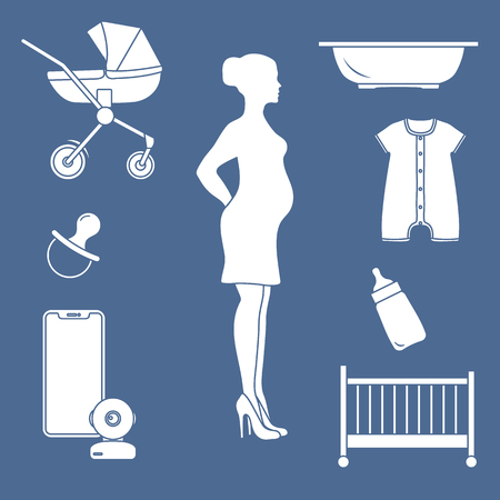 Pregnant woman and goods for babies. Stroller, crib, baby monitor, bottle, pacifier, bath for children, overalls. 向量圖像