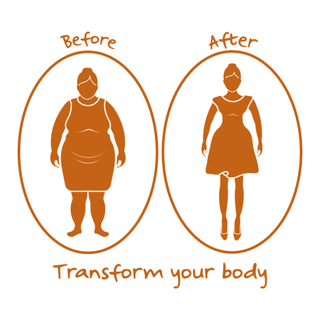 Fat woman and shapely woman. Transform your body. Sport and proper nutrition with excess weight and obesity. Foto de archivo - 102061725