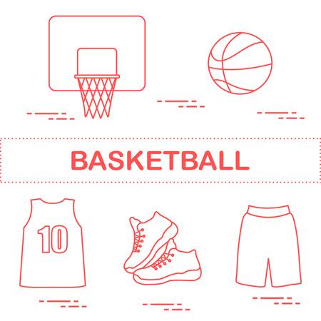 Sports uniform and equipment for basketball. Basketball basket, shirt, sneakers, shorts, ball.