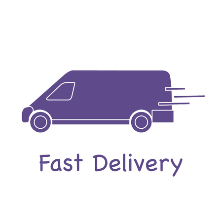 Delivery truck. Fast and convenient shipping. Free delivery. Stock Illustratie