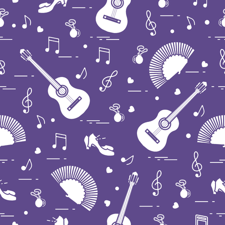 Seamless pattern with fan, shoes, castanets, notes, guitars. Travel and leisure. Traditional symbols of Spain.