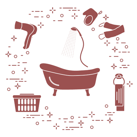 Bathroom elements: bath, shower, hairdryer, washcloths, towel, laundry basket. Design for poster or print. Illustration