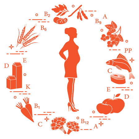 Pregnant woman and foods rich in vitamins useful for pregnant women. Fish, apples, cauliflower, carrots, dairy products, black currants, soybeans, wheat, beans, spinach.