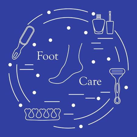 Pedicure-instrumenten en -producten voor schoonheid en verzorging. Nagellak, puimsteen, scheerapparaat, teenafscheider.