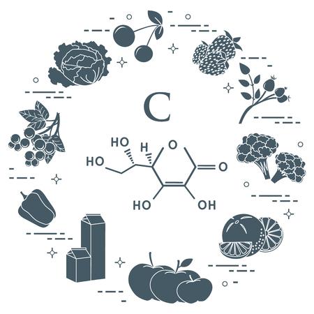 Foods rich in vitamin C. Cherry, strawberry, dog rose, cauliflower, orange, apples, milk, dairy products, sweet pepper, black currant, cabbage.