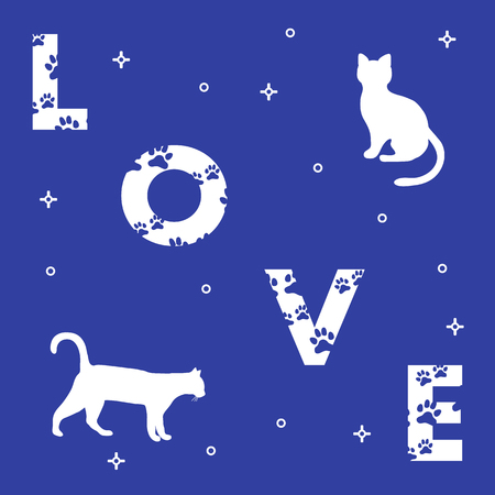 Word: Love. The message is decorated with traces of a cat. Cats. Template for design, print. Illustration