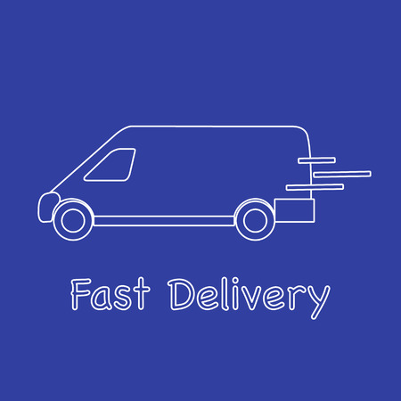 Delivery truck. Fast and convenient shipping. Free delivery. Ilustrace
