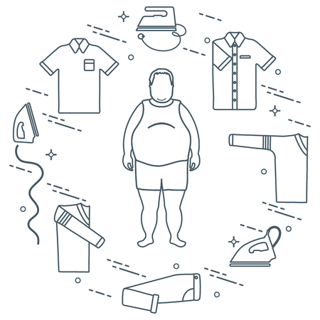 Fat man, irons, folded trousers, t-shirt, jumper, shirt. Design for banner and print. 写真素材 - 102064445