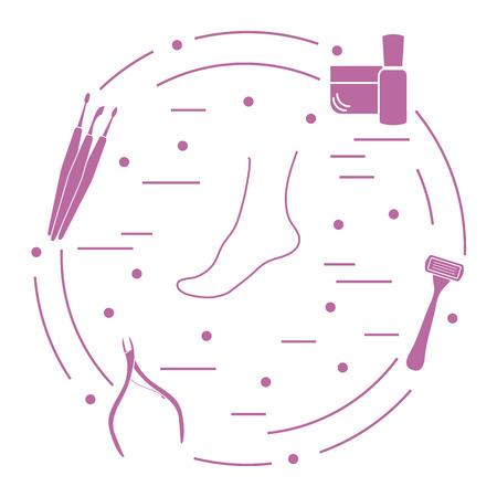 Pedicure-instrumenten en -producten voor schoonheid en verzorging. Crème, nagelverzorgingsproduct, scheerapparaat, nagelknipper, nagelreinigingsgereedschap, schraper.