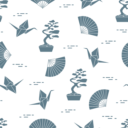 Seamless pattern with bonsai trees, origami paper cranes, fans. Travel and leisure. Japan traditional design elements.
