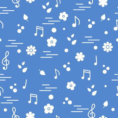 Seamless pattern of notes, flowers, leaves. Template for design, fabric, print. Illusztráció