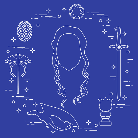 Symbols and heroes of the popular fantasy television series. Art and cinema theme. Illusztráció