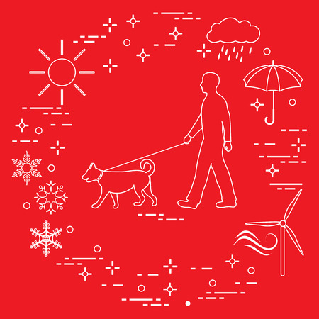 Man walking a dog on a leash in any weather. Sun, cloud, rain, umbrella, snowflakes, wind,  wind generator.