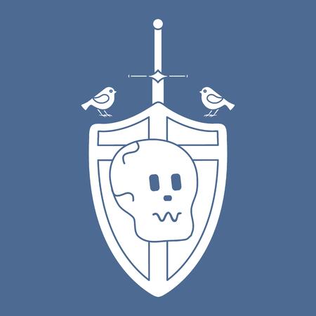 Skull, shield, sword, birds. Design element for postcard, banner or print.