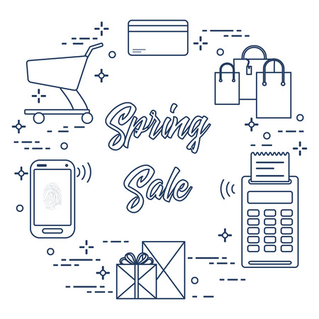 Shopping cart, payment terminal, bank card, packages, boxes, phone. Spring sale. Shopping icons. Vettoriali