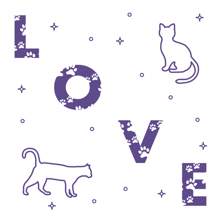 Word: Love. The message is decorated with traces of a cat. Cats. Template for design, print.