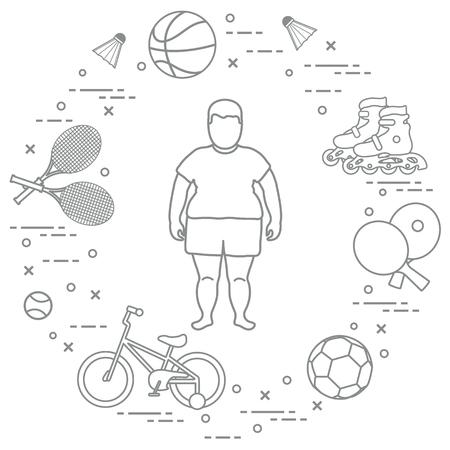 Gordo, raquetas de bádminton y volantes, pelotas de fútbol y baloncesto, raquetas y pelotas para tenis de mesa, bicicletas para niños, rodillos. Deporte y estilo de vida saludable desde la infancia.