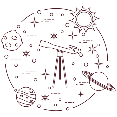Science: telescope, sun, moon, planets, stars. Space exploration. Astronomy. Stock Illustratie