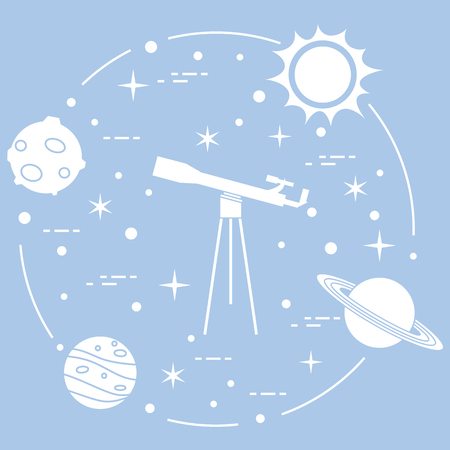 Science: telescope, sun, moon, planets, stars. Space exploration. Astronomy.