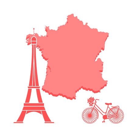 Map of France, famous tower of Paris, bicycle with a basket of flowers. Travel and leisure. Illustration