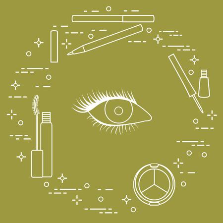 Eye makeup. Decorative cosmetics. Glamour fashion vogue style. Illustration