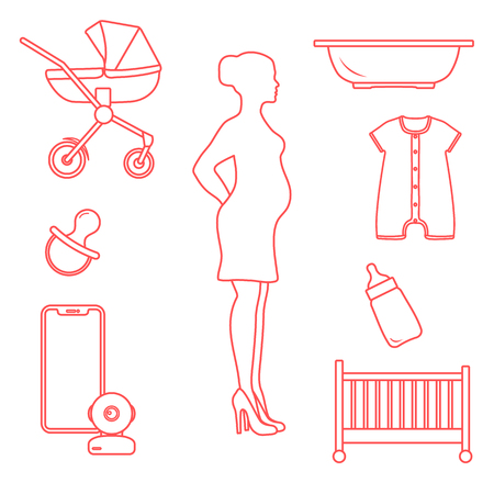 Pregnant woman and goods for babies. Stroller, crib, baby monitor, bottle, pacifier, bath for children, overalls. Иллюстрация