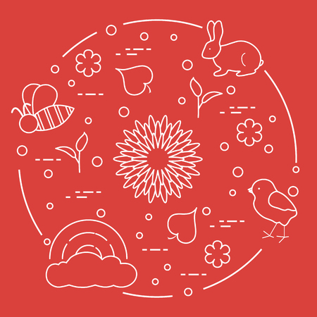 Rainbow, cloud, chicken, rabbit, flowers, leaves, bee, shell, egg, sprouts. Spring theme. Template for design, print.