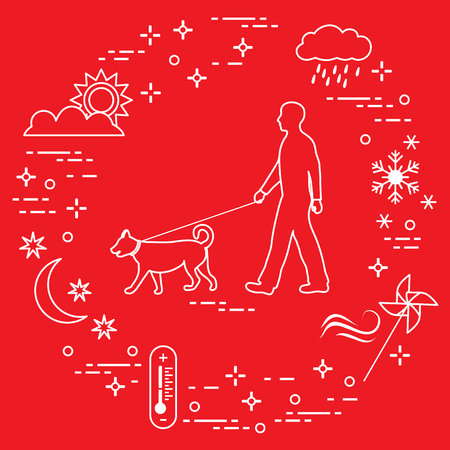 Man walking a dog on a leash in any weather. Sun, cloud, rain, wind, pinwheel, snowflake, thermometer, month, stars.