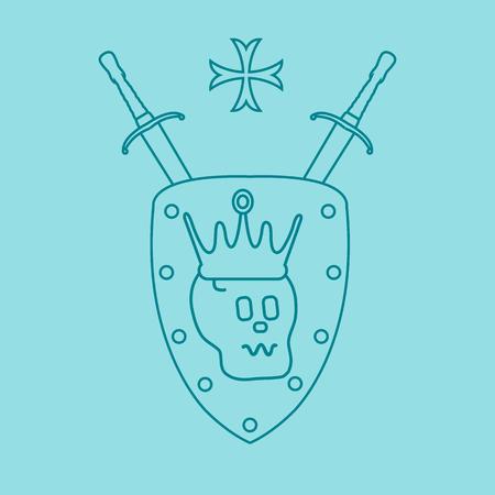Skull, crown, shield, two crossed swords, cross. Design element for postcard, banner or print.  Illustration
