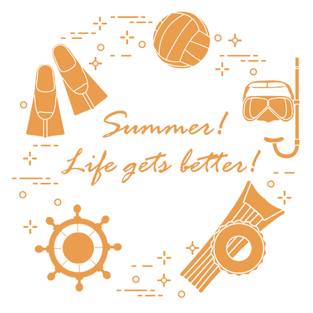 Steering wheel, mask, snorkel, fins, volleyball, inflatable mattress, inflatable circle. Summer sports and leisure.
