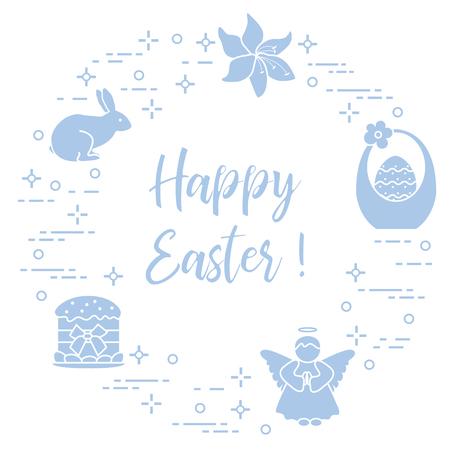 Easter symbols. Easter cake, basket, eggs, rabbit, flowers, angel.