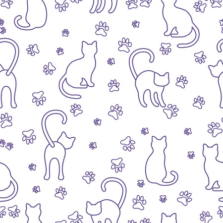 Seamless pattern with cats and traces. Template for design, fabric, print.