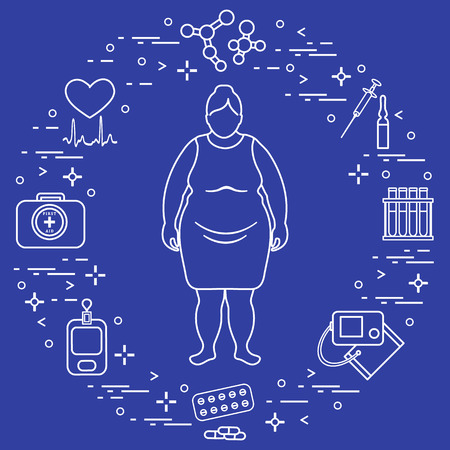 Fat woman, medical devices, tools and medicines. Health and treatment.