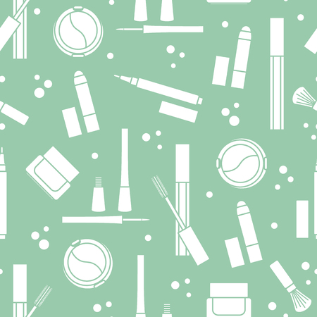 Seamless pattern of decorative cosmetics. Makeup. Eyeliner, eyeshadow, brush, cream, mascara. Glamour fashion vogue style.