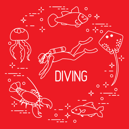Diver, jellyfish, lobster, stingray, fish. Sports and recreation theme.