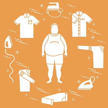 Fat man, irons, folded trousers, t-shirt, jumper, shirt. Design for banner and print. 免版税图像 - 121827500