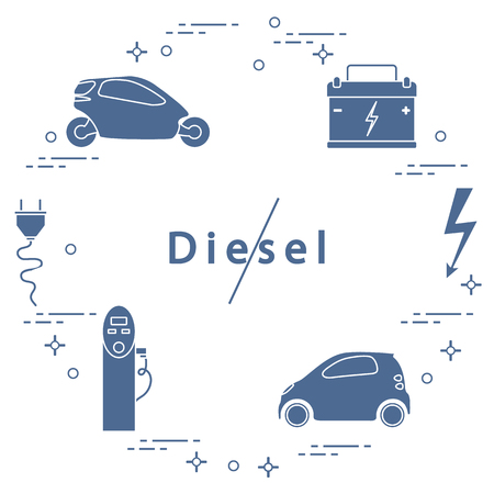 Ban on diesel engines. Transport is environmentally friendly. Electric cars, battery, charging station, electrical safety sign, cable, electrical plug. Transport eco technologies.
