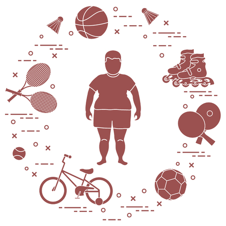 Fat boy, badminton rackets and shuttlecocks, football and basketball balls, rackets and balls for table tennis, kids bicycle, rollers. Sports and healthy lifestyle from childhood. 免版税图像 - 102884024