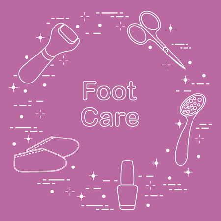 Tools for pedicure. Nail polish, electric foot file, pumice, scissors, silicone socks. Personal care. Illustration