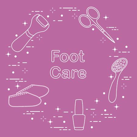 Tools for pedicure. Nail polish, electric foot file, pumice, scissors, silicone socks. Personal care. Ilustração