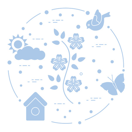 Sun, cloud, bird, flower, butterfly, birdhouse. Spring theme. Template for design, print.