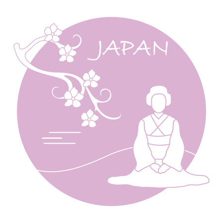 Branch of cherry blossoms and asian woman. Japan traditional design elements. Travel and leisure.