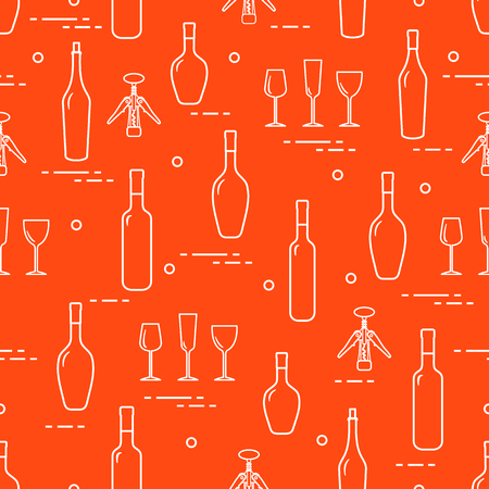 Seamless pattern of wine glasses, corkscrew, bottles of wine. Wine-making. Tasting. Sommelier. Illustration
