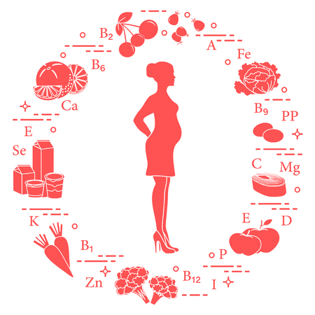 Pregnant woman and foods rich in vitamins useful for pregnant women. Rosehip, cabbage, olives, fish, apples, cauliflower, carrots, dairy products, orange, cherry. Illustration