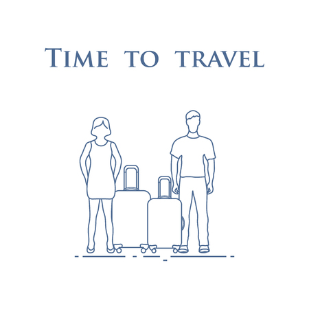 Man and woman with suitcases. Time to travel. Summer time, vacation. Illustration