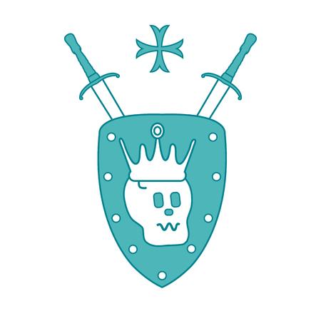 Skull, crown, shield, two crossed swords, cross. Design element for postcard, banner or print.  Vettoriali