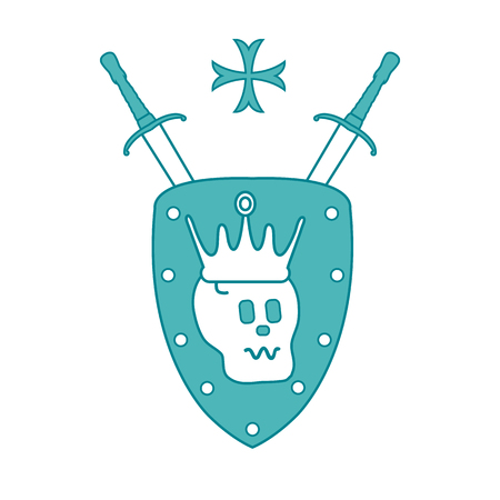 Skull, crown, shield, two crossed swords, cross. Design element for postcard, banner or print.  Illustration